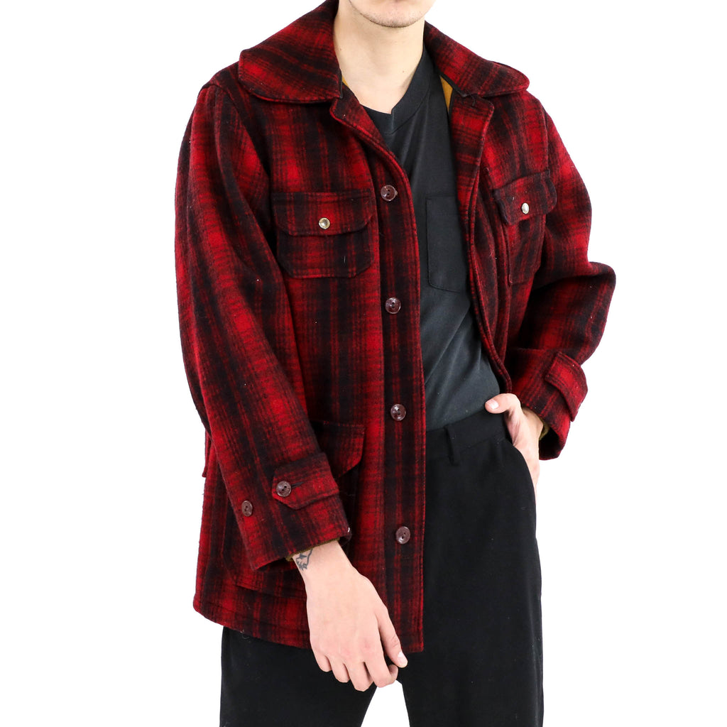 Red Plaid Peacoat