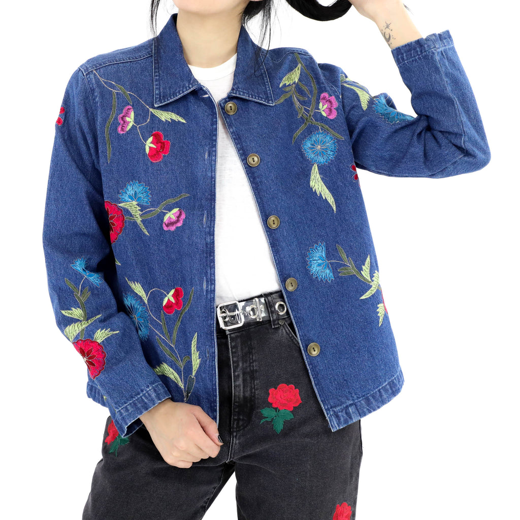 Denim Jacket With Embroidered Flowers