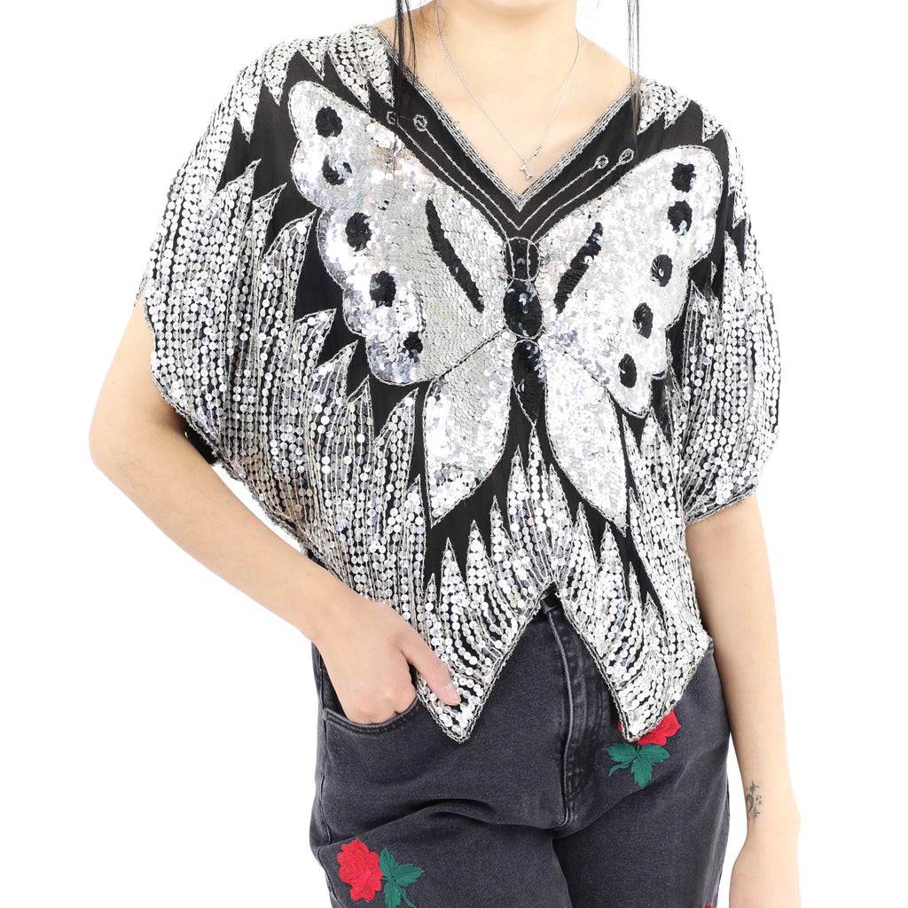 Silver Sequin Butterfly Blouse