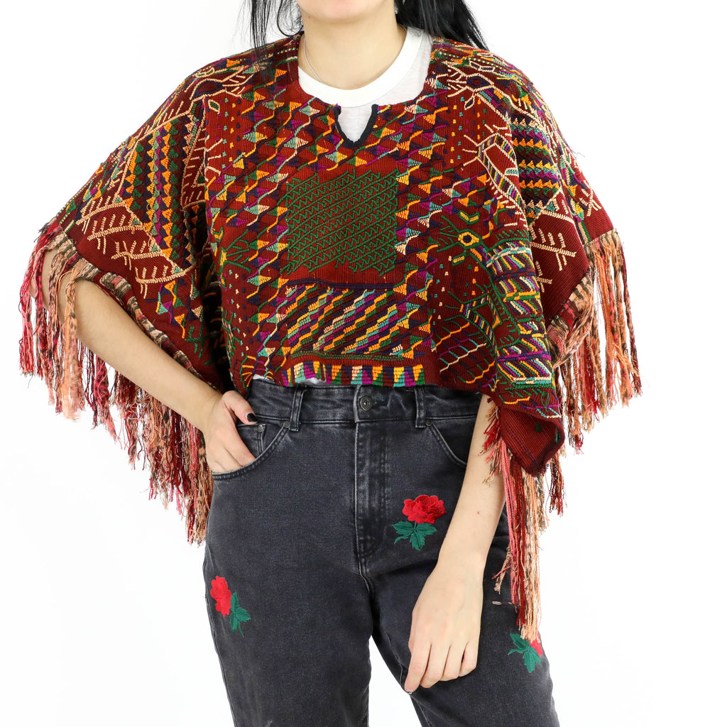 Figures Pattern Multicolored Poncho