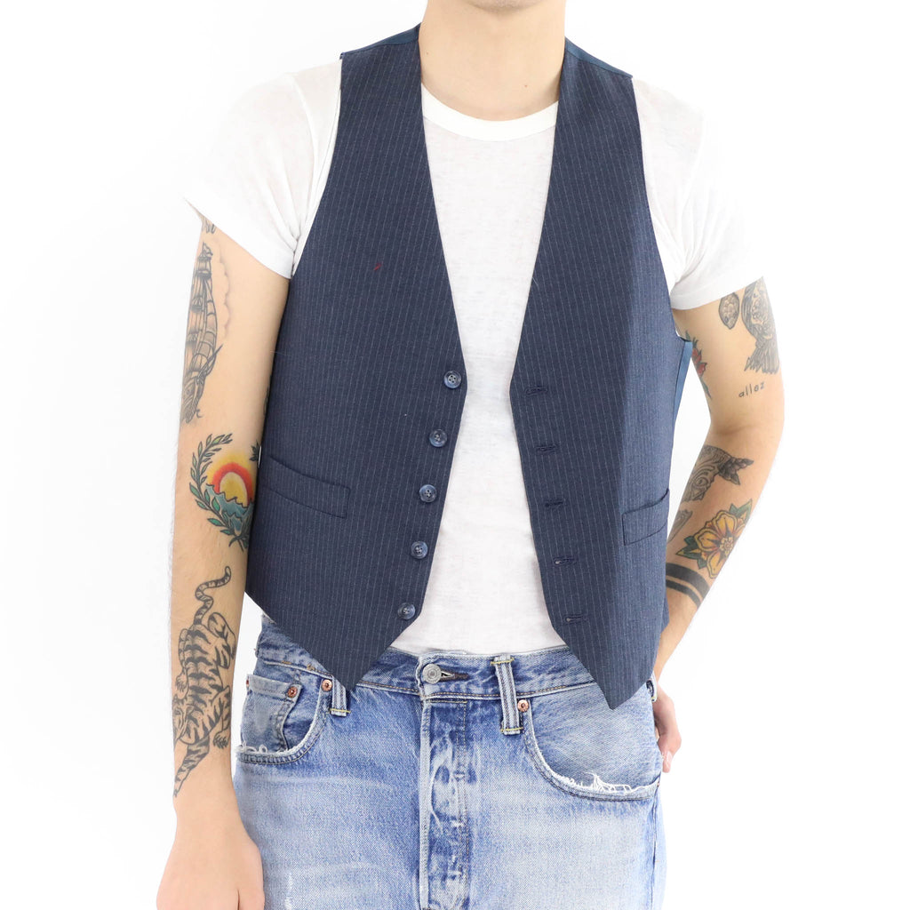 Bluish Gray Striped Vest