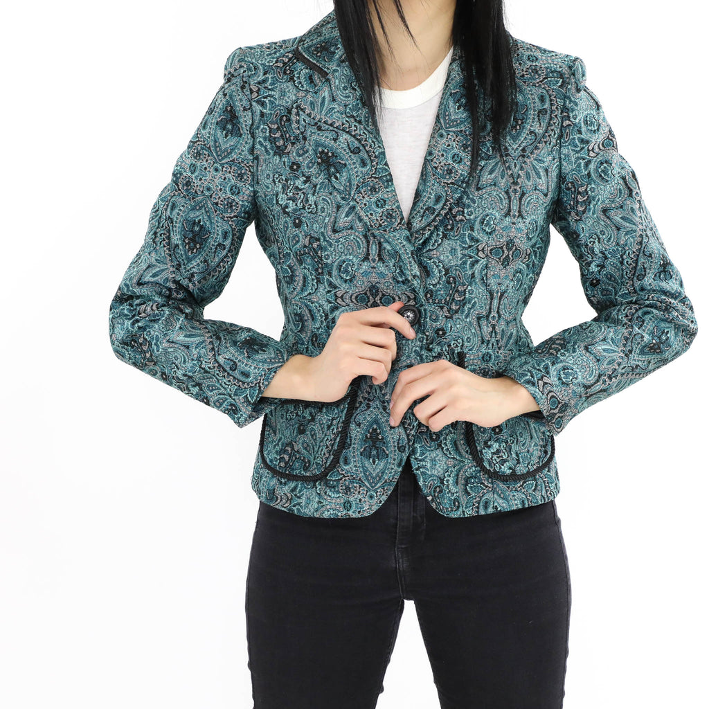Paisley Blazer with Belted Back