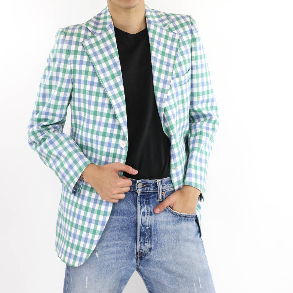 Gingham Notch Lapel Blazer
