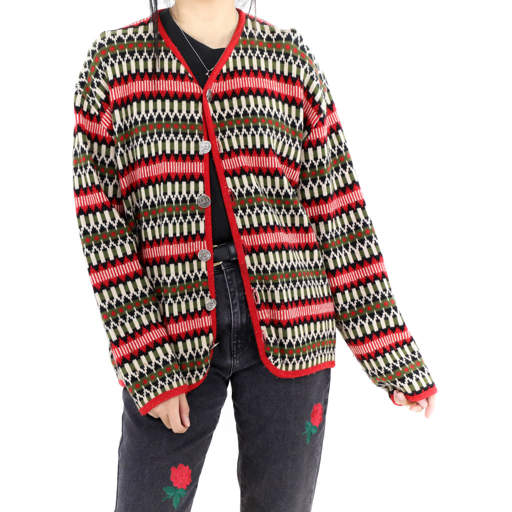 Green & Red Pattern Sweater