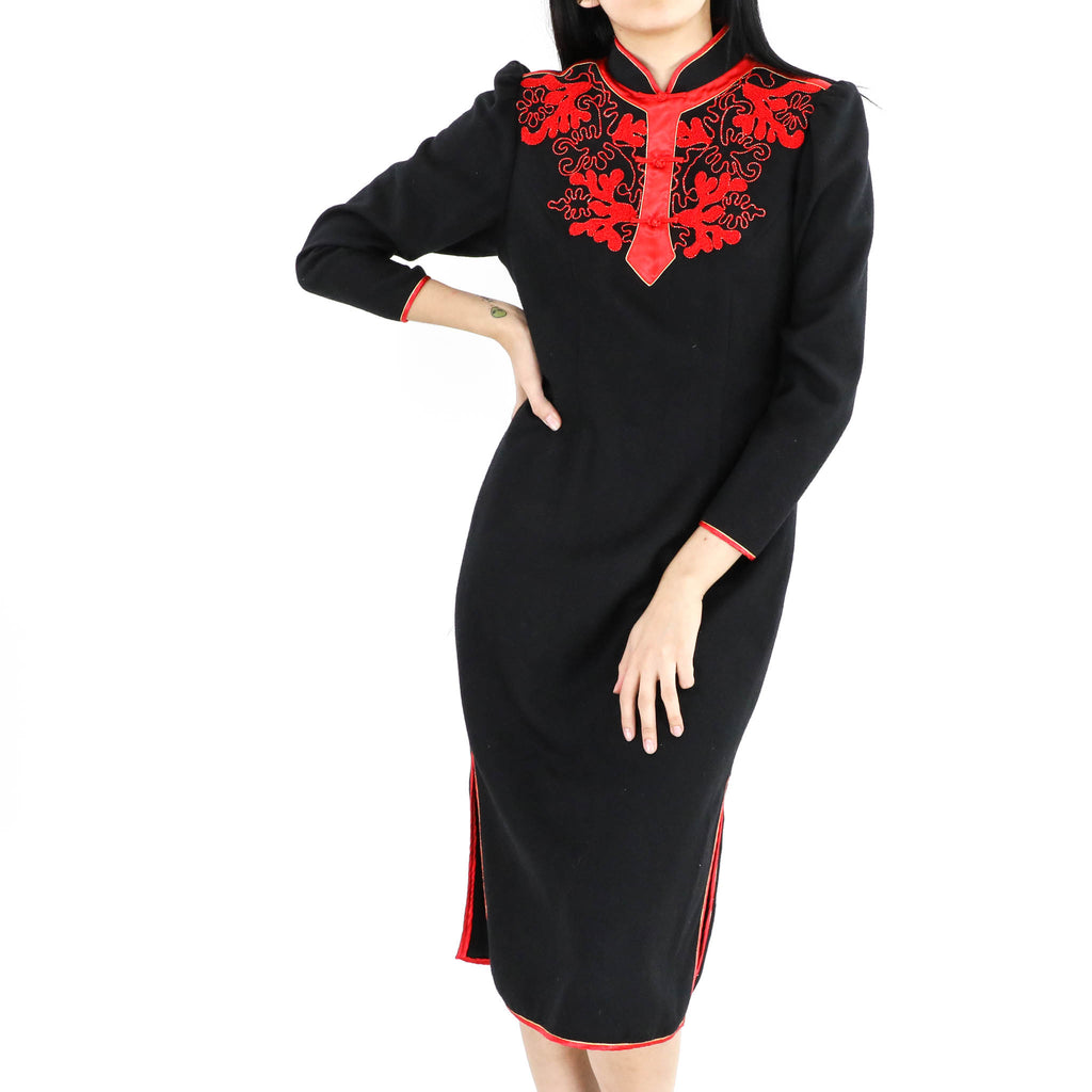 Lace Trim Cheongsam Dress