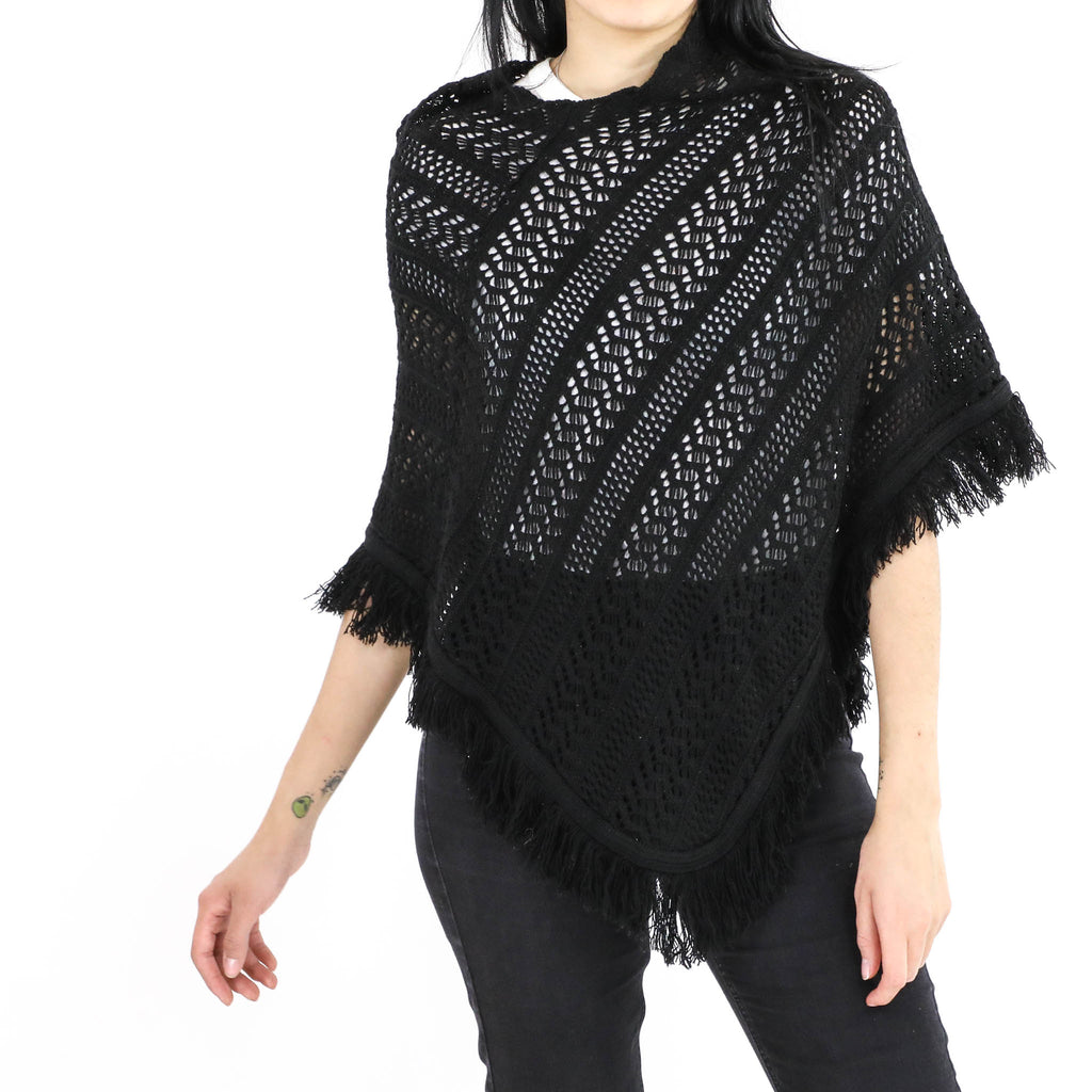 All Black Crochet Poncho
