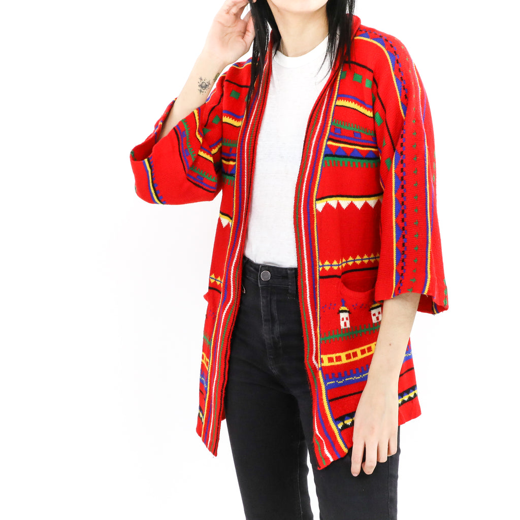 Red Navajo Cardigan