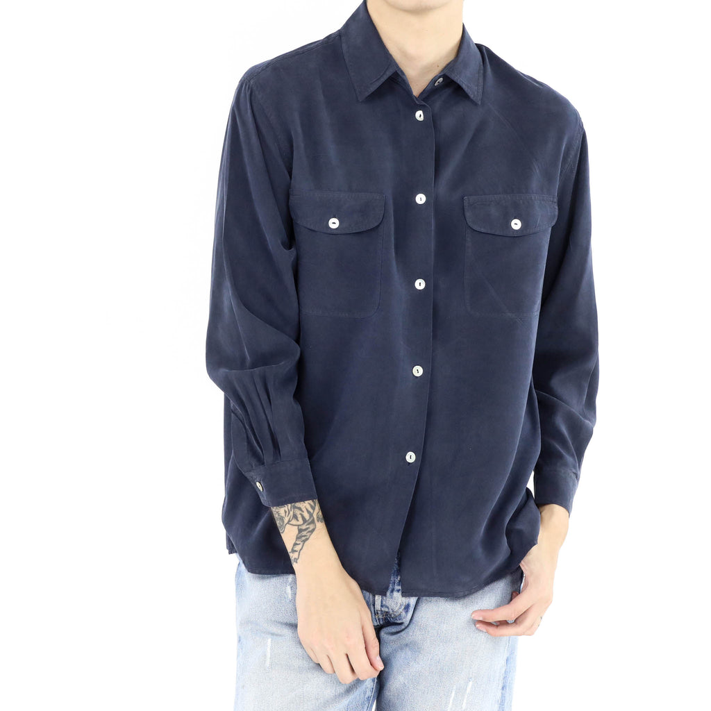 Deep Blue Silk Shirt