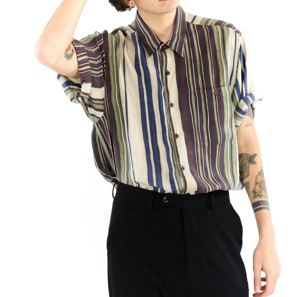 Silk Striped Short Sleeve Button Down Shirt