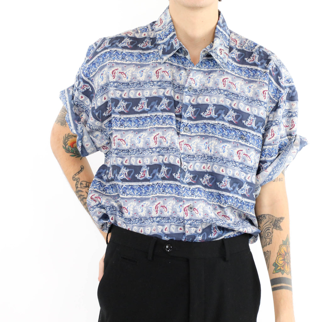 Abstract Striped Short Sleeve Button Down Shirt