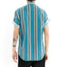 Abstract Linear Button Down Short Sleeve Shirt