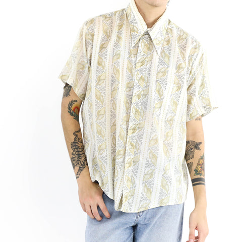 Abstract Button Down Short Sleeve Shirt