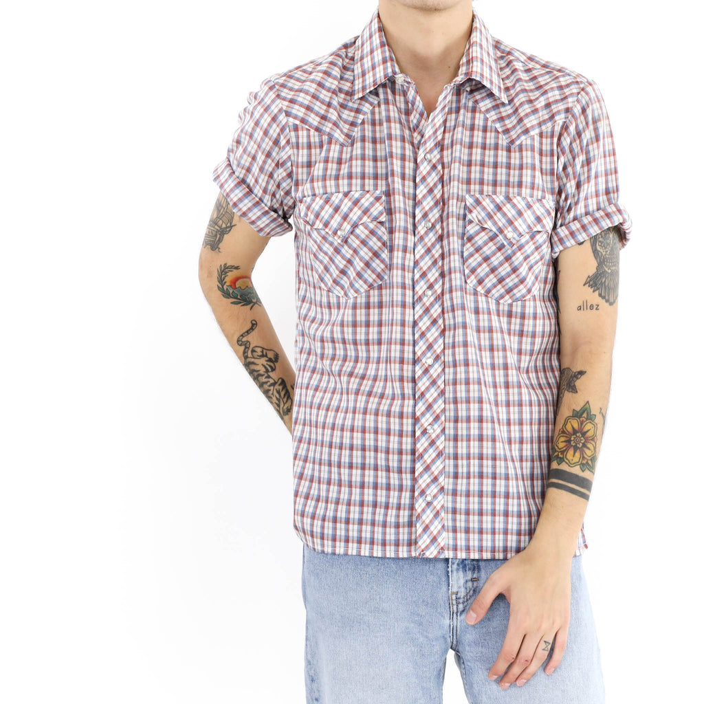 Madras Check Button Down Short Sleeve Shirt