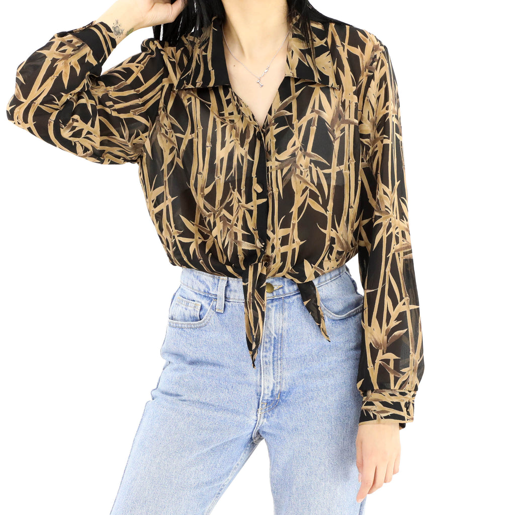 Black & Gold Printed Blouse