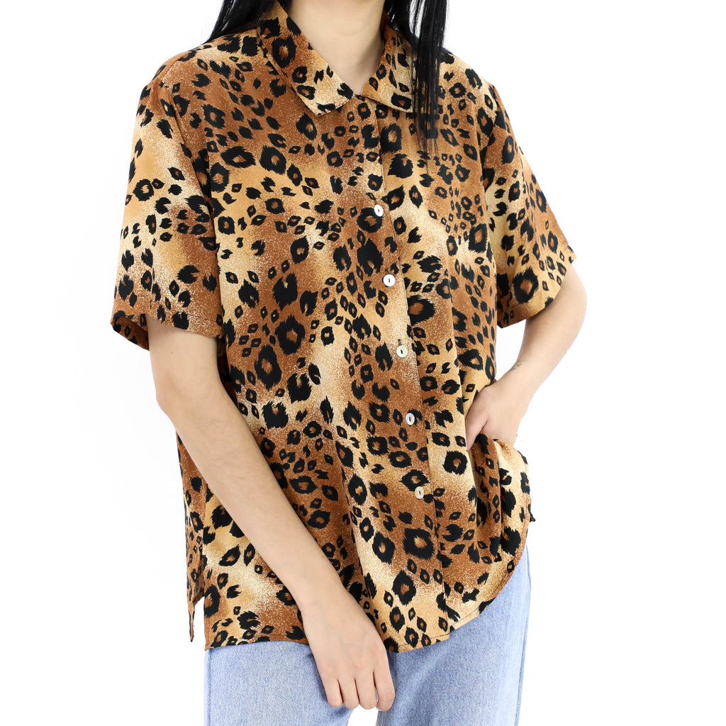 Animal Print Oversized Blouse