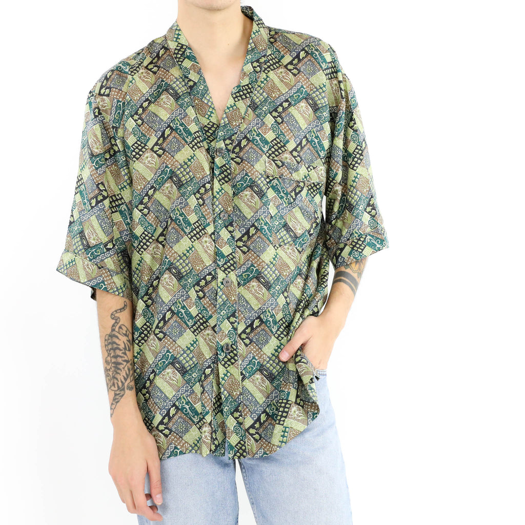 Abstract Geometric Button Down Short Sleeve Shirt
