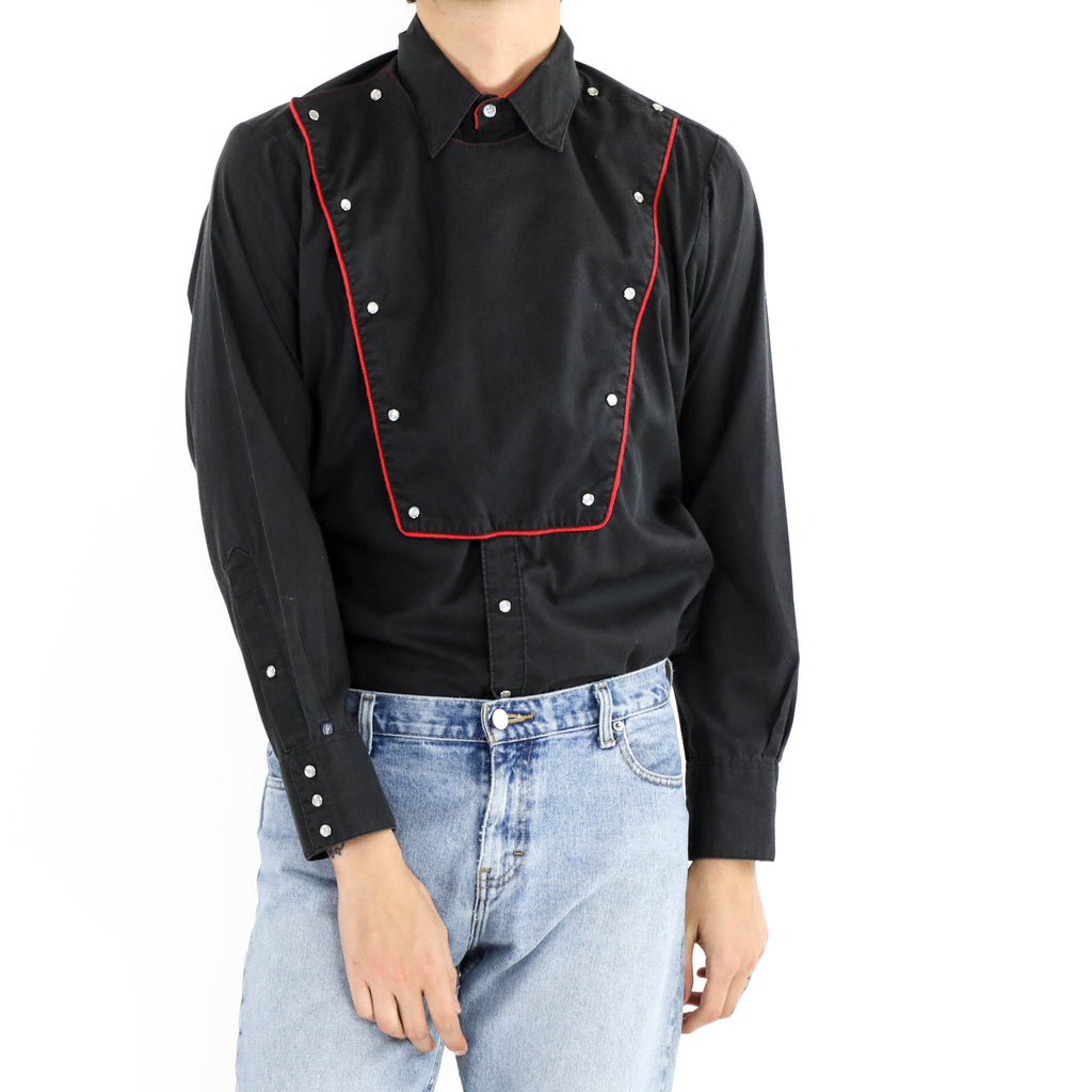 Black with Red detail Bib Shirt