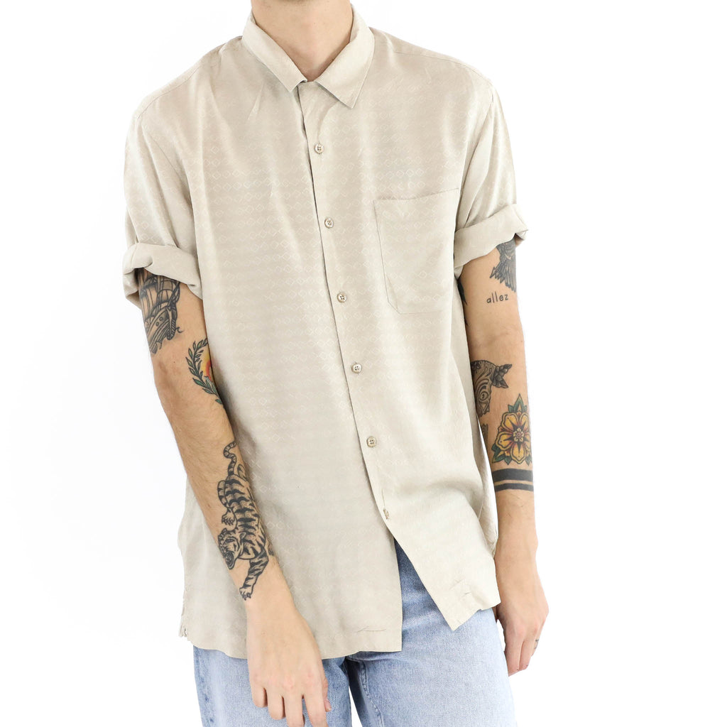 Textured Diamond Weave Short Sleeve Button Down Shirt