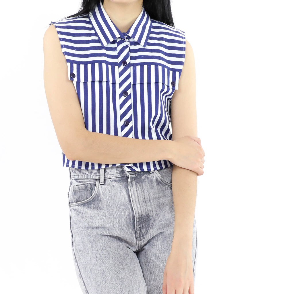 White & Blue Striped Blouse
