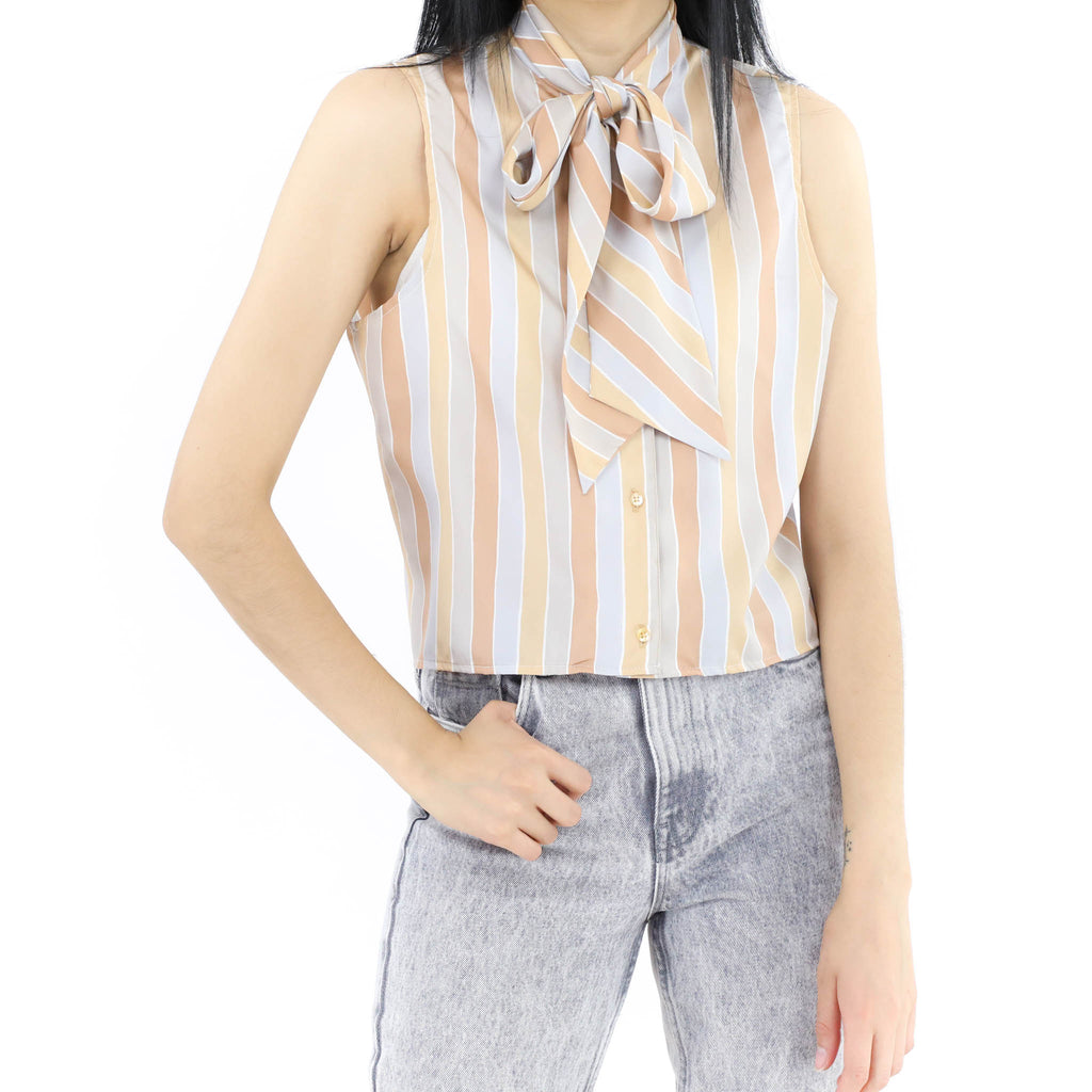Striped Kitten Bow Blouse
