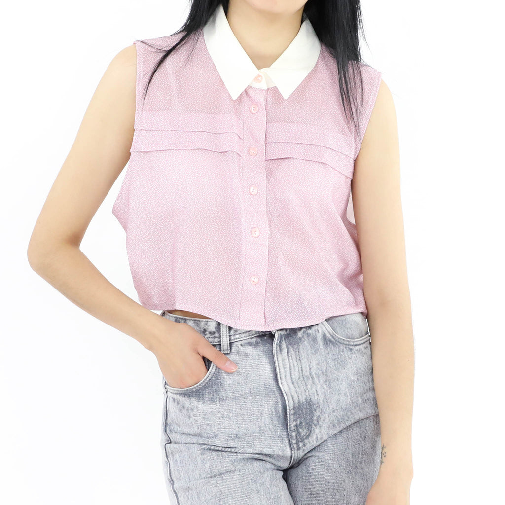 Pink White Collared Blouse