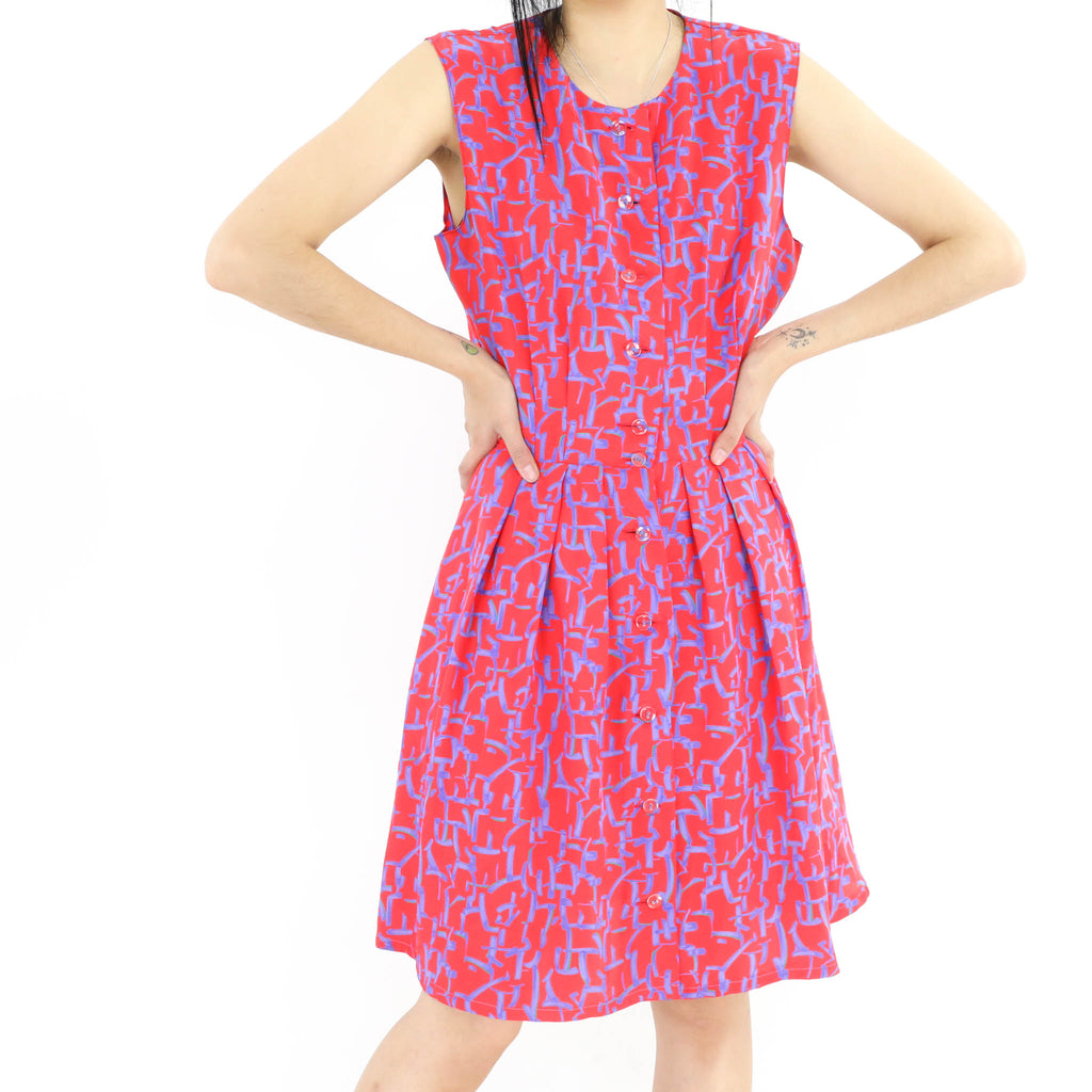 Red & Blue Abstract Pattern Dress