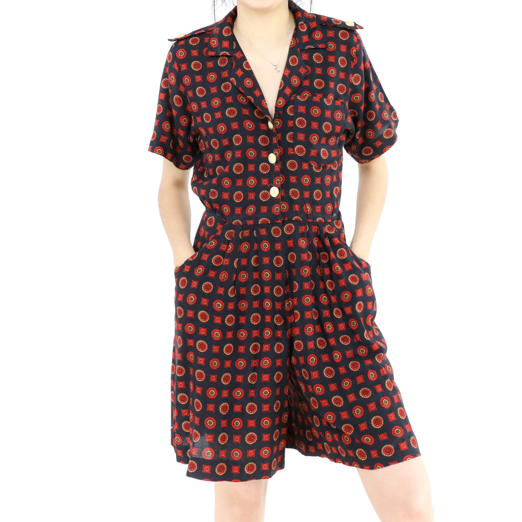 Red Pattern Short Jumpsuit