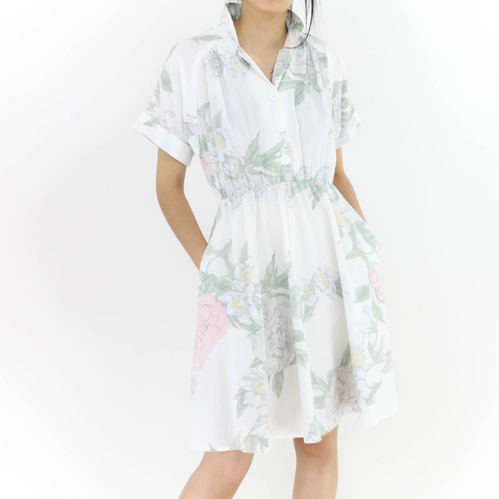 Roses and Lilies Flowered White Dress
