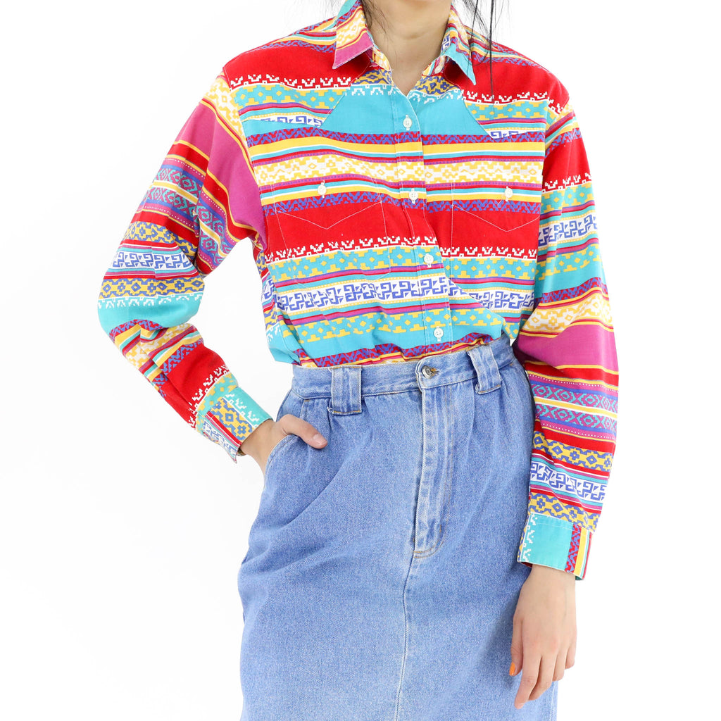 Colorful Border Lines Blouse