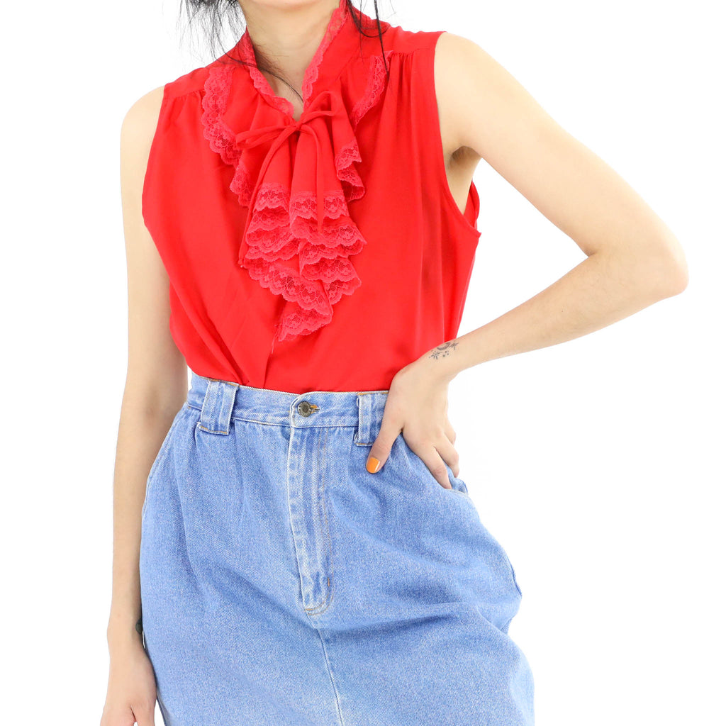 Red Ruffled Neck Blouse