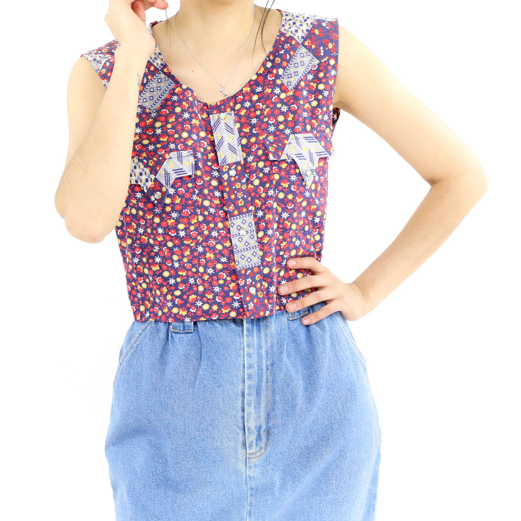 Red and Blue Flowered Sleeveless Blouse
