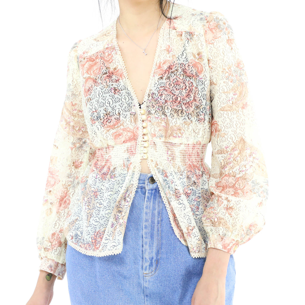 Creamy Floral Mesh Blouse