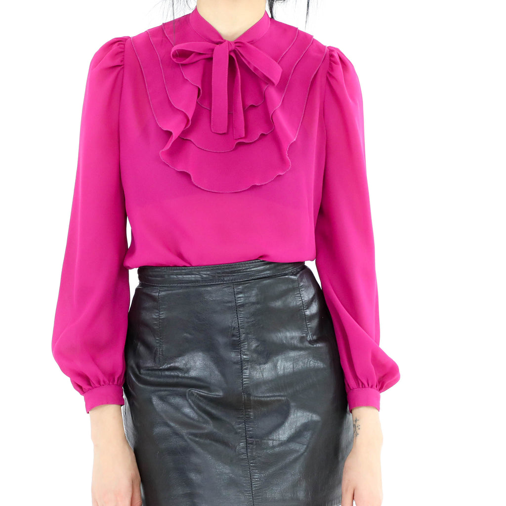 Fucsia Gathered Neck Tie Blouse