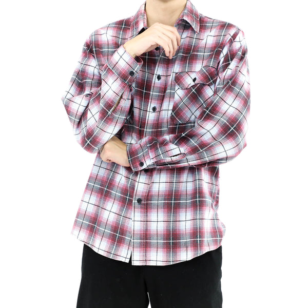 Burgundy & Gray Flannel Shirt