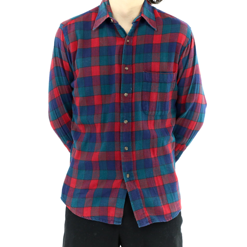 Plaid Red Blue & Green Flannel Shirt