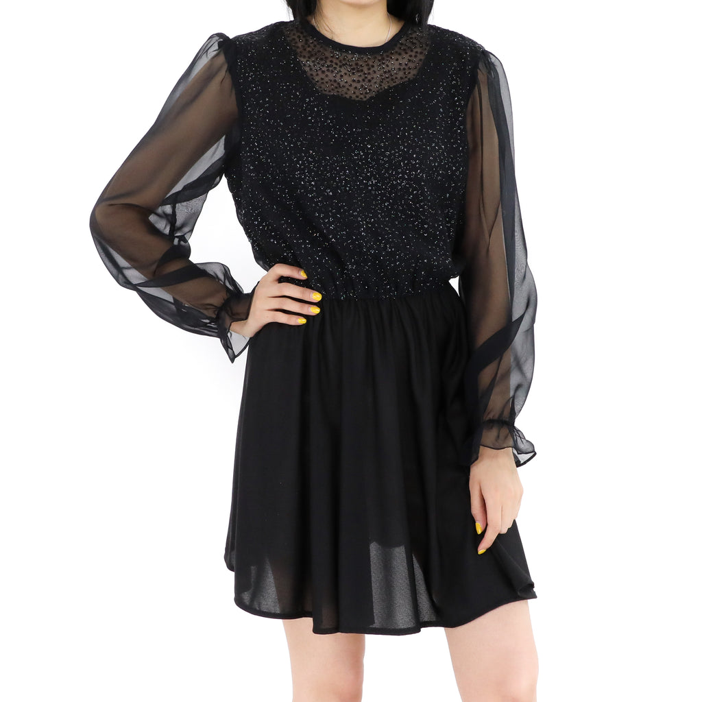 Black See Through Sleeves Dress