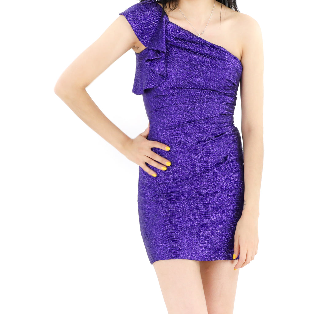 Electric Purple Off Shoulder Dress