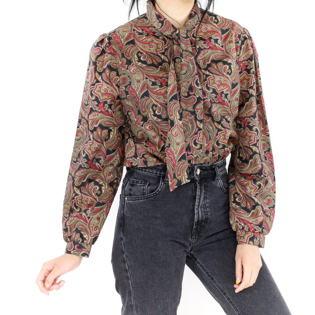Brown & Red Paisley Blouse