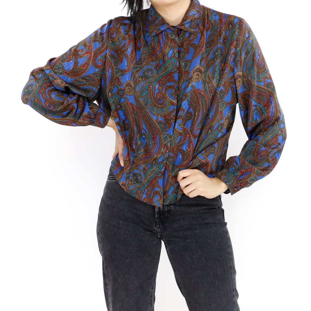 Electric Blue & Burgundy Blouse