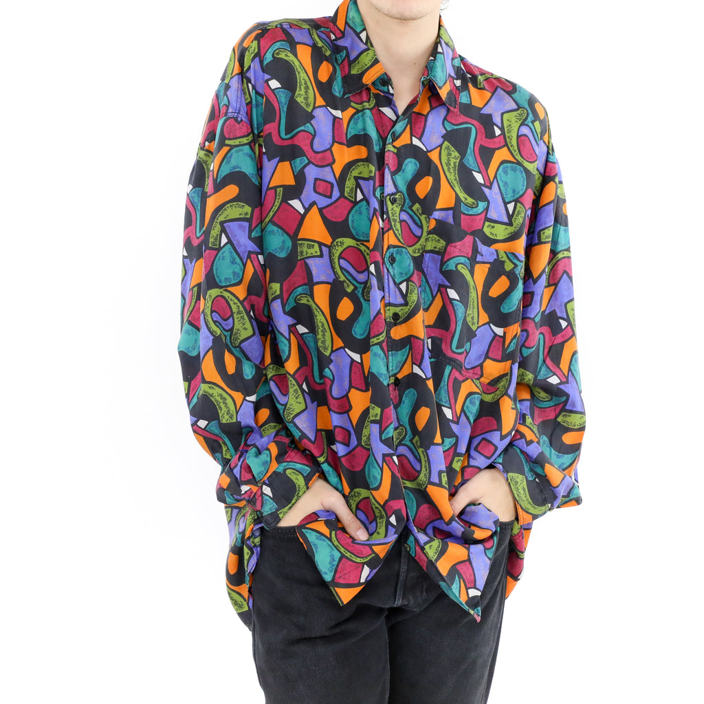 Abstract Multicolor Silk Shirt