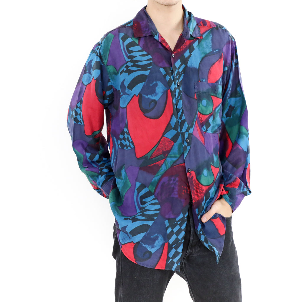 Purple Red & Blue Abstract Silk Shirt