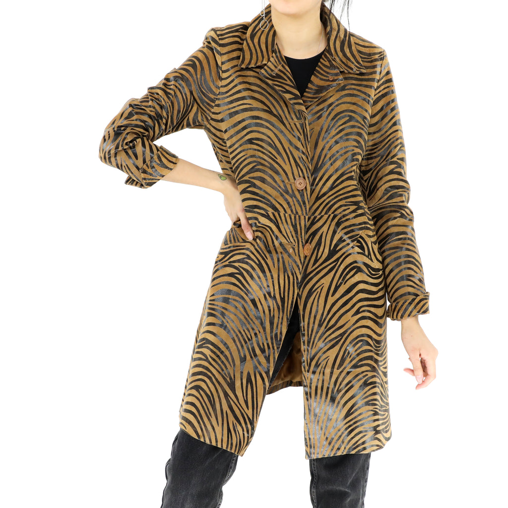 Zebra Print Leather Coat
