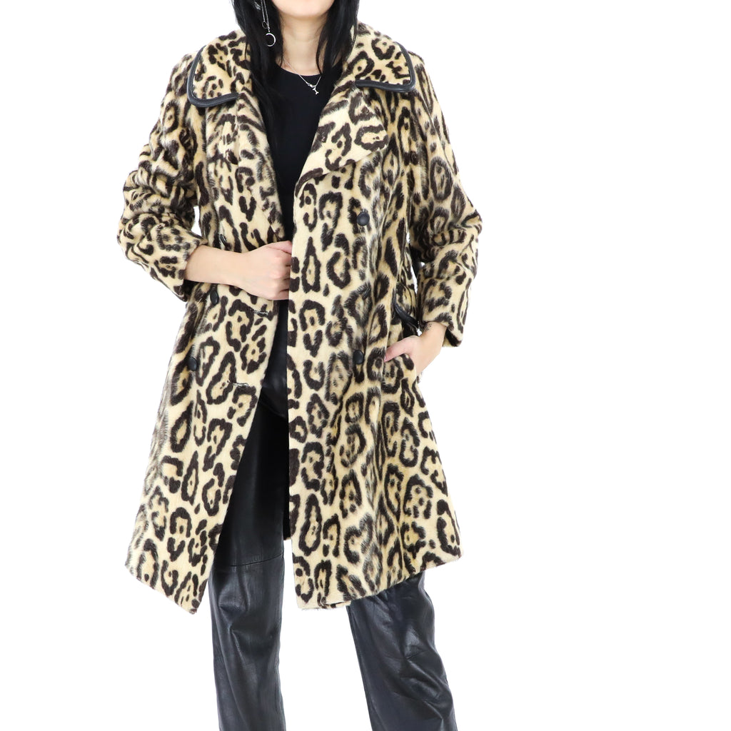 Wild Cat Print Faux Fur Long Coat