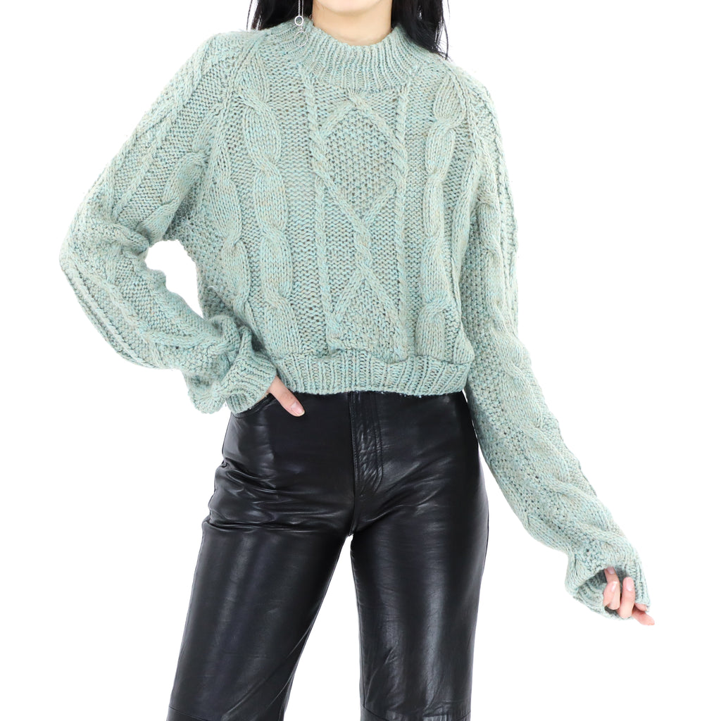 Tea Green Crop Sweater