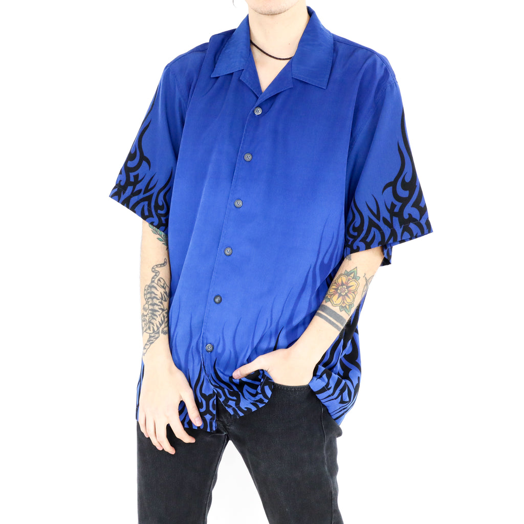 Neon Blue Flames Short Sleeve Shirt