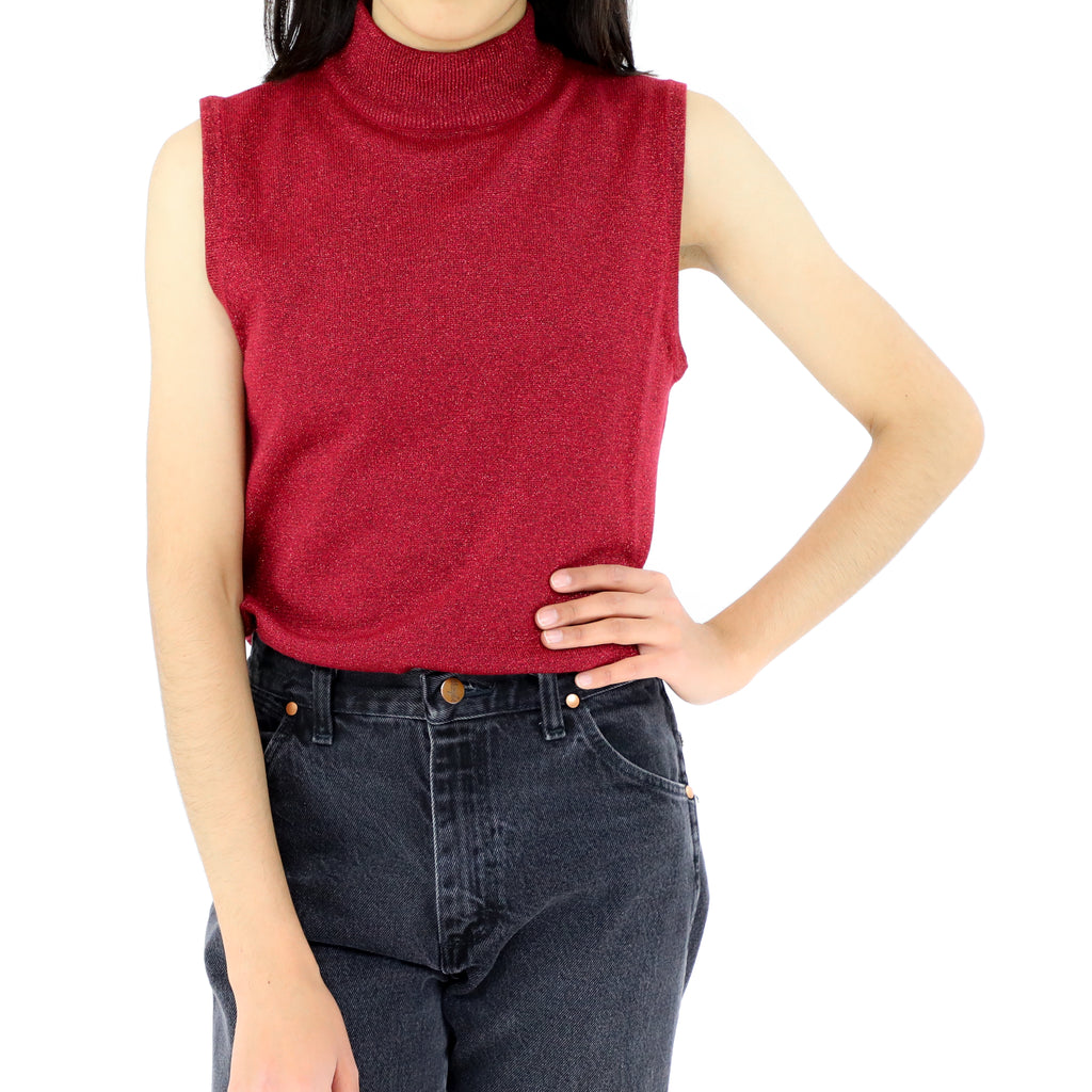 Red Glittery Sleeveless Blouse