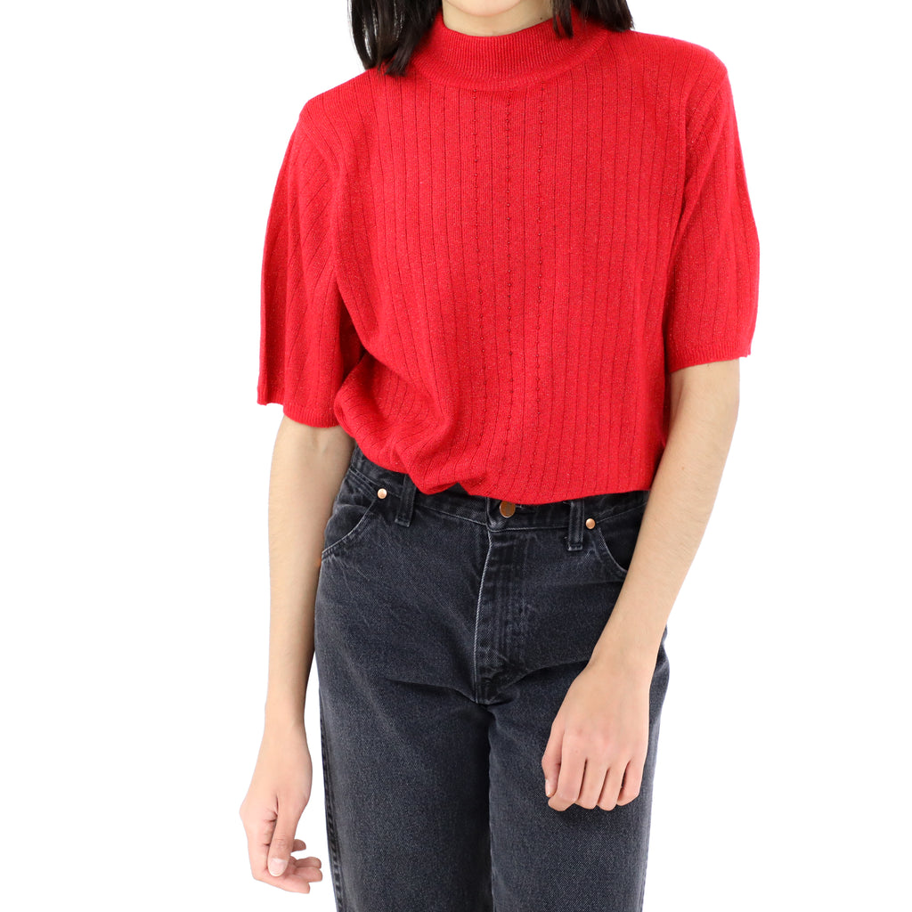 Mid Turtle Neck Red Blouse