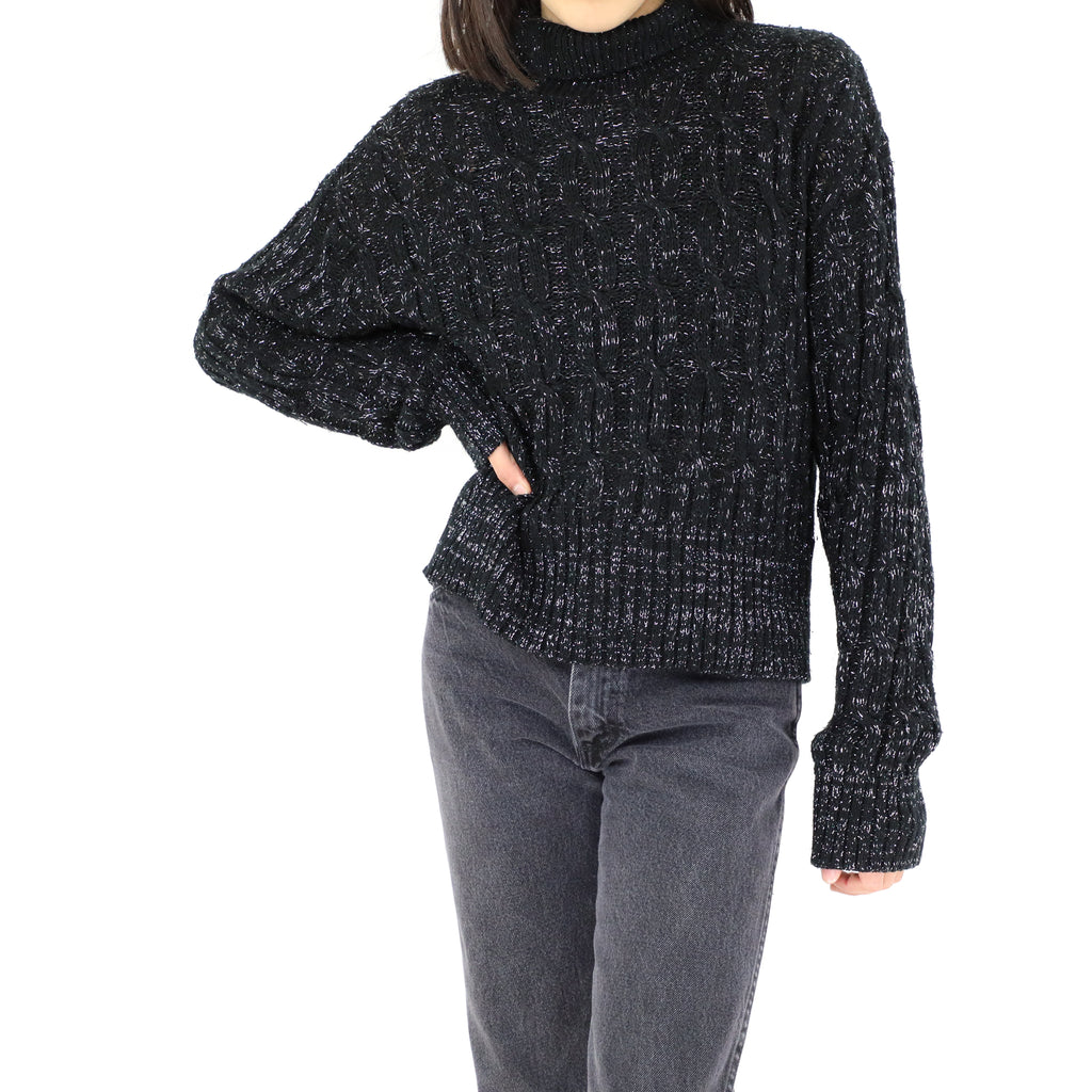 Black Sparkly Turtle Neck Blouse
