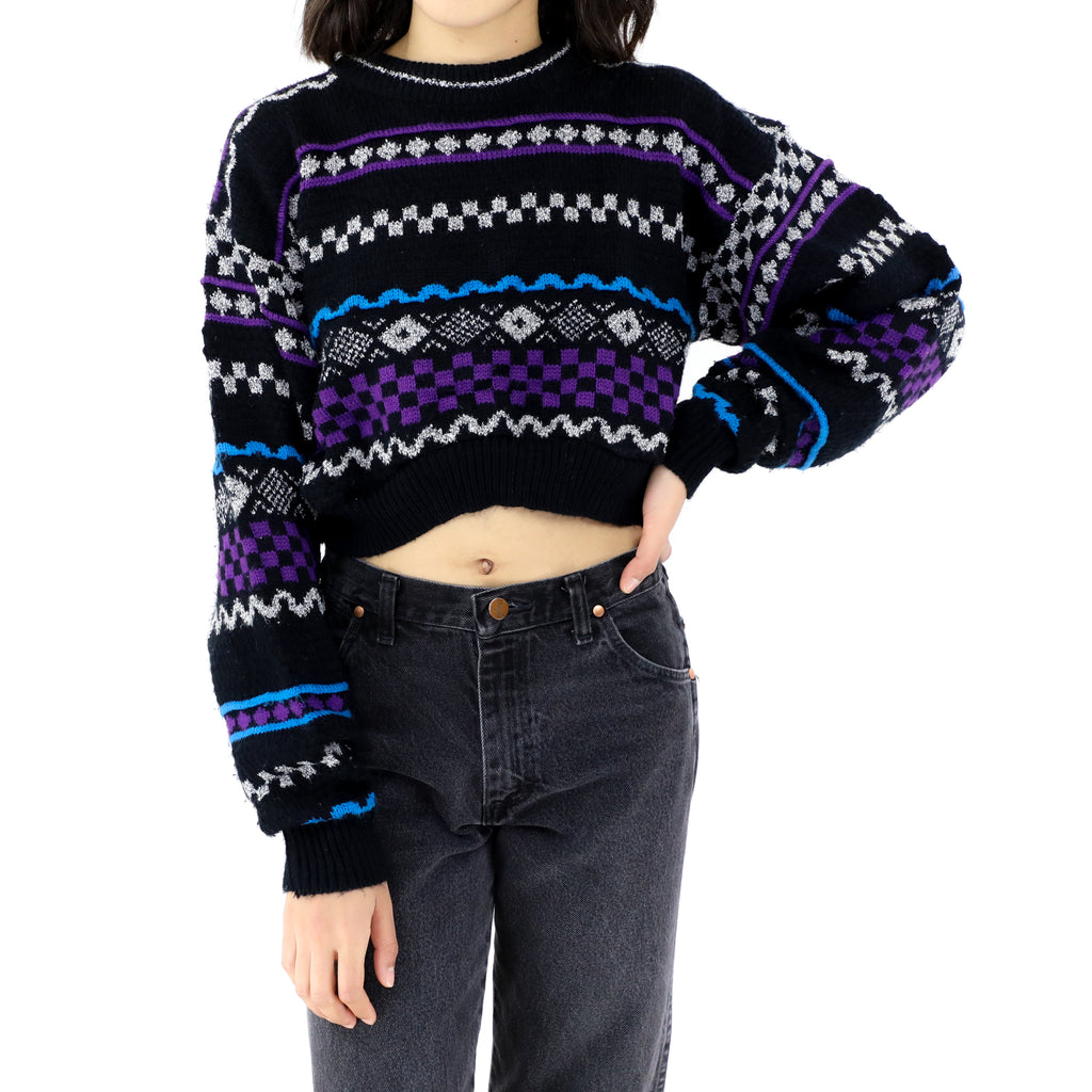 Purple & Black Knitted Sweater