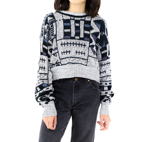 Abstract Grey Knitted Sweater